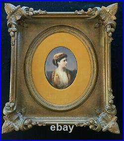 KPM Hand Painted Porcelain Oval Portrait Plaque of Middle Eastern Woman c 1870