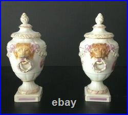KPM Hand Painted Porcelain Pair Of Lion Handled Vases W Lids 9 Send Offers