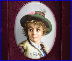 KPM Hand Painted Porcelain Plaque Boy with Hat, 19th Century