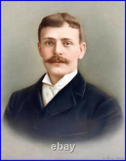 KPM Hand Painted Porcelain Plaque of a Gentleman by L. Sturm Dresden, 19th C