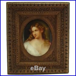KPM Hand Painted Porcelain Plaque with Beautiful Woman 1880's