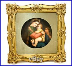 KPM Hand Painted Porcelain Round Plaque Madonna & Child, 19th Century