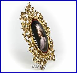 KPM Hand painted Porcelain Portrait Plaque C. 1900 Gilt Bronze Beatrice Cenci