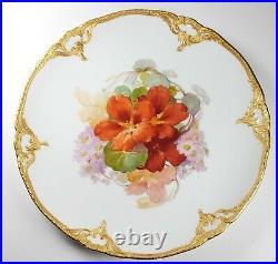 KPM Orange Floral Daisies Gold Edge Porcelain 8 3/4 Plate