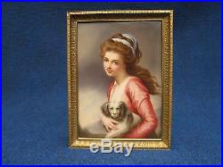 KPM PORCELAIN PLAQUE OF A GIRL HOLDING KING CHARLES in very gd condition 19th