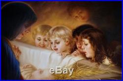 KPM Painted Porcelain Plaque Signed Wagner 11 x 9 Madonna Jesus Nativity RARE