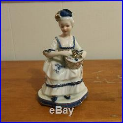 KPM Porcelain Figurine Woman with Flowers Basket Blue White CROWN MARK 4950