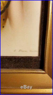KPM Porcelain Plaque. 8 X 6 Signed L. Sturm Dresden. Beautiful Gilt Frame