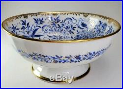 KPM ROYAL Berlin Blue Floral Leaves Gold Porcelain Large Footed Bowl