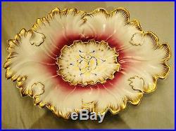 KPM Royal Porcelain Manufactory Berlin Handpainted Leaf Serving Bowl 1844-1847