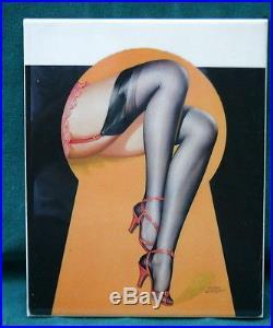 KPM Style Porcelain Plaque Girls Legs Through Key Hole SIGNED
