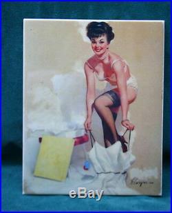 KPM Style Porcelain Plaque Of A Girl Getting Dress Signed GIL ELVGREN