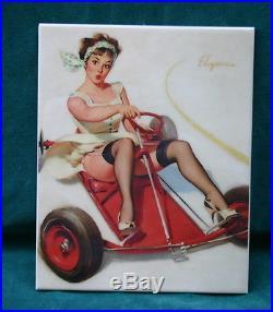 KPM Style Porcelain Plaque Painting A Girl Riding A Go-Kart Signed GIL ELVGREN