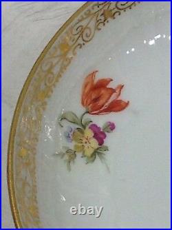 KPM porcelain cup saucer. Antique Germany. Handpainted flowers. Gold