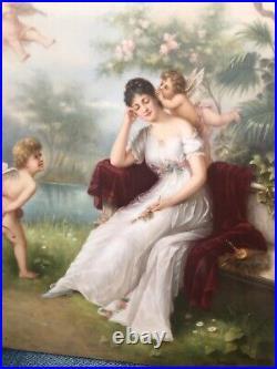 KPM porcelain plaque Girl with Cupids c. 1900 11x9