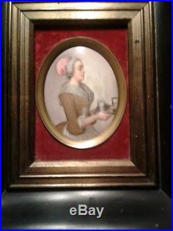 KPM's ONLY HAND PAINTED OVAL PORCELAIN PLAQUE La Belle Chocolatiere 1860-1880