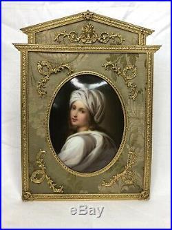 KPM style Antique Porcelain Portrait of Beatrice Cenci in Gilt Frame