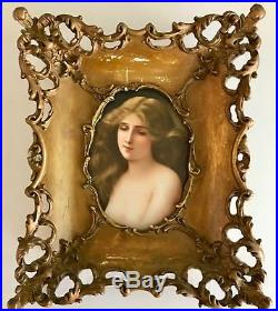 Kpm Antique Framed Portrait Painting On Porcelain