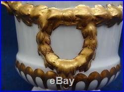 Kpm Berlin Porcelain White Gold Dolphin Handles Planter Jardiniere1850-1890