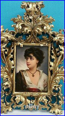 Kpm German Hand Painted Porcelain Plaque In Rococo Gilt Wood Frame