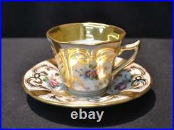 Kpm Hand Painted Tea Cup & Saucer Floral Gold Blue Mark Antique 1854 Porcelain