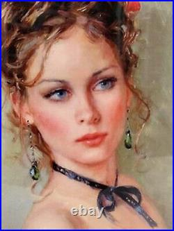 Kpm Style Porcelain Painting Plaque Of The Young Pretty Girl