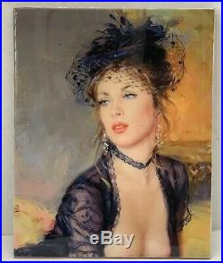 Kpm Style Porcelain Plaque Painting Of An Elegant Young Girl With Hat