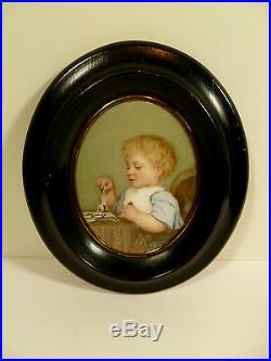 Kpm-style Hand Painted Portrait On Porcelain Boy Playing Dominoes Circa 1880