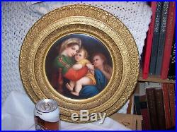 LARGE FRAMED Antique KPM ROUND MADONNA Dresden Porcelain Plaque Painting