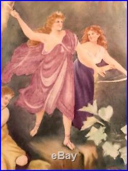 LG Antique Painted Porcelain Plaque-After KPM Plaque Diana and Acteon
