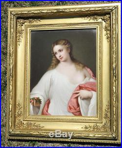LG Antique Porcelain KPM Berlin plaque giltwood frame FLORA TItian Lady Portrait