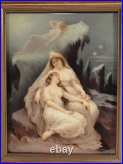 Large 10 x 8 Antique German Hand Painted Porcelain Plaque Winter KPM quality