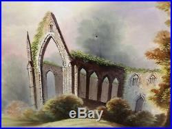 Large 19th c. COPELAND KPM STYLE PORCELAIN PLAQUE PAINTING Bolton Abbey Ruin