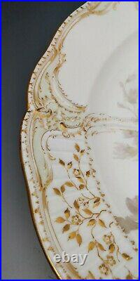 Large Antique KPM Berlin Weichmalerei Floral Gold Gilt Porcelain Plate 12