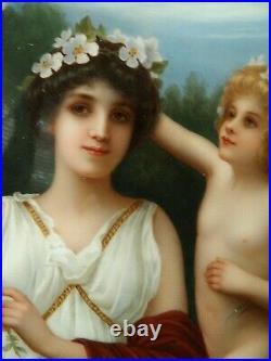Large Antique KPM Porcelain Plaque 13 X 8 A Scherf Painting Love's Garland