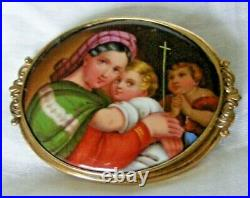 Large Antique Pinchbeck Madonna Della Seggiola Brooch Pin Pendant Kpm Berlin