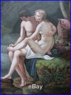 Large Antique Porcelain Plaque Hand Painted KPM Style Unsigned Young Lovers 9X13