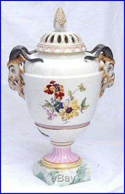 Large Antique Vase Urn KPM Pottery Germany Floral Ram Porcelain 19c Antique Rare