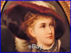 Large Gorgeous Framed Hand Painted Miniature Lady Kpm Type Porcelain Portrait