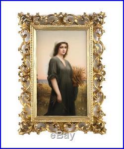 Large KPM Porcelain Portrait Plaque of Ruth after Landelle's, 19th Century
