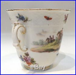 Late 18th c. Antique KPM Berlin Porcelain Chocolate Cup & Trembleuse Saucer