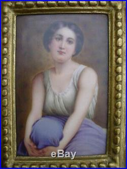 Lovely Antique Painting on Porcelain Contemplation Signed KPM Type