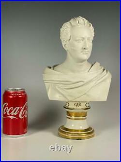 Mid 19th Century Classica Parian Bust of Gentleman on Berlin Porcelain KPM Base