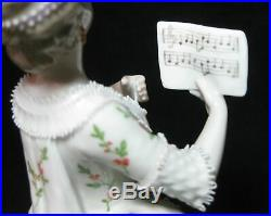 Nice Antique German KPM BERLIN Porcelain Lace Figure of a Woman Singing
