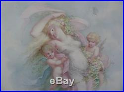 Non Kpm Porcelain Plaque Of Nymph And Three Putti Bigger Size Signed Crommer