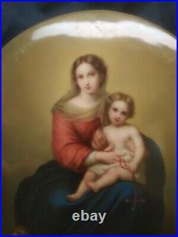 Original Antique KPM Virgin Mary Cherubs Porcelain Plaque signed Deininger