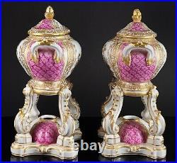 PAIR KPM Royal Berlin Hand Painted Porcelain Pink Brule Parfum Perfume
