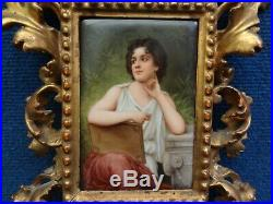 POETRY GERMAN PORCELAIN PLAQUE SIGNED WAGNER, KPM STYLE 19th Century