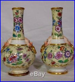 PR Rare Miniature KPM Berlin German Porcelain Chinoiserie Vases Faces 4.5
