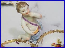 Pair Antique KPM Berlin Cherub Putti Cupid Open Salts Porcelain Figurine Dishes
